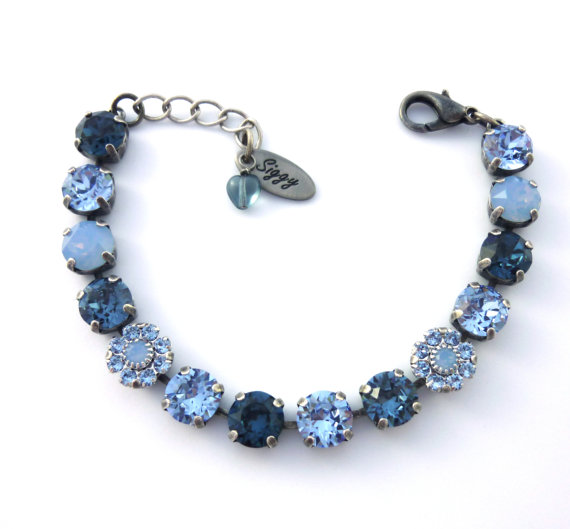 8mm Swarovski elements Denim Blue bracelet with flower elements, tennis bracelet in antique silver, Siggy Jewelry