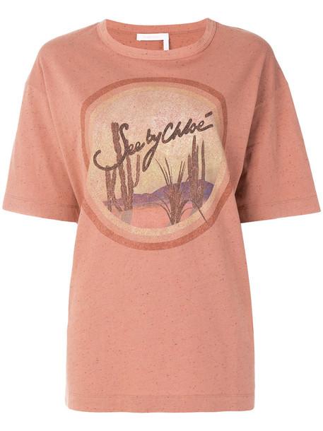 See by Chloe t-shirt shirt t-shirt oversized women cotton purple pink top