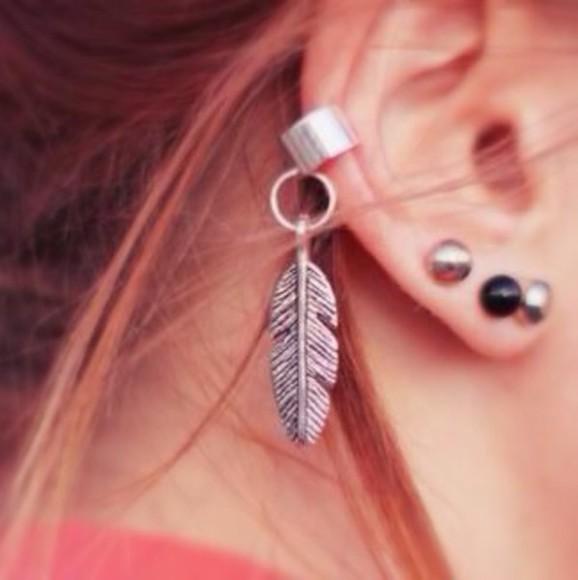 jewels ear cuff silver feather earpiercing