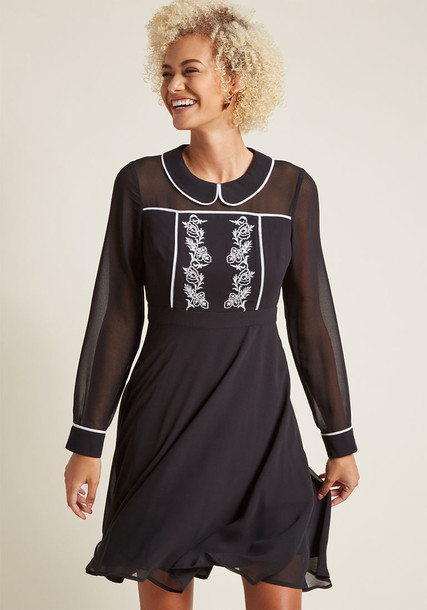 Modcloth dress long sleeve dress long black