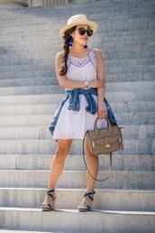 gracefullee made,blogger,dress,bag,jewels,jacket,hat,sunglasses,shoes,wedge sandals,sandals,spring outfits,mini dress,denim jacket,handbag