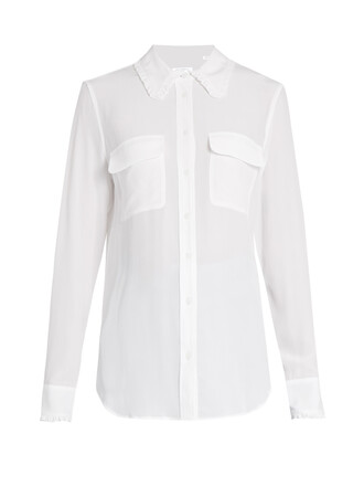 shirt ruffle silk white top