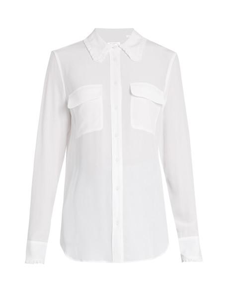 Equipment shirt ruffle silk white top