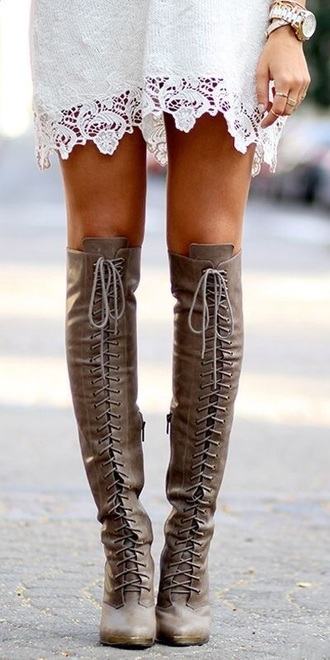 shoes tan knee high boots leather lace up boots