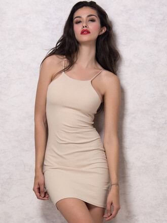 dress chiclook closet bodycon dress nude cream spaghetti strap classy chic trendy lipstick girly girl