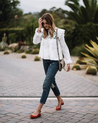 blouse tumblr white blouse denim jeans blue jeans shoes red shoes slingbacks bag