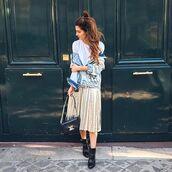 skirt,tumblr,metallic pleated skirt,pleated skirt,midi skirt,metallic,silver,denim jacket,jacket,blue jacket,bag,black bag,louis vuitton,louis vuitton bag,boots,black boots,ankle boots,hun