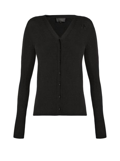 Rochas cardigan cardigan embroidered wool black sweater