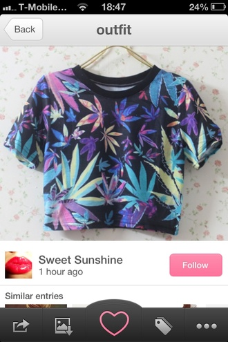blouse clothes t-shirt weed crop tops marijuana leaf