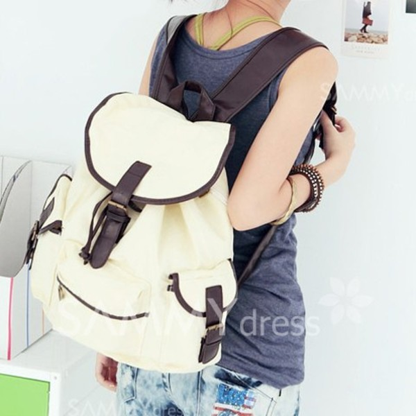 bag backpack white and brown school bag rucksack