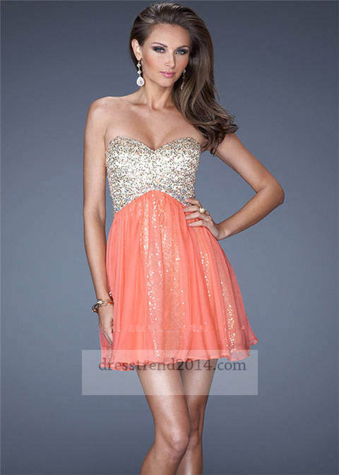 Coral short sequin chiffon prom dresses for cheap [short coral prom dress]