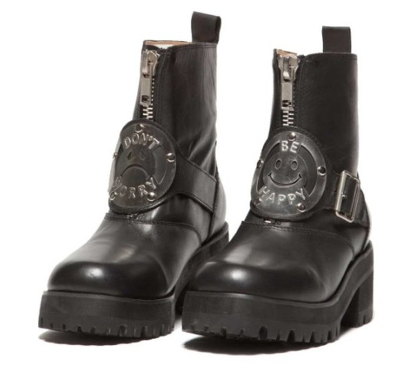 shoes DrMartens boots combat boots black boots vintage dont worry be happy i like cats doc. martens boots black