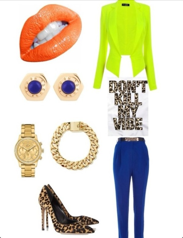 pants blue harem pants gold chain neon blazer gold watch gold bracelet cheetah print pumps