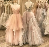 dress,beautiful,embroidered,pink,lilac,dresses evening,gown,baby pink,prom dress,sweetheart dress,v neck dress,v neck,plunge v neck,pink dress,nude dress,nude,baby pink dress,ruffle,ruffle dress,long dress,spaghetti straps dress,pastel pink,grey,evening dress,prom