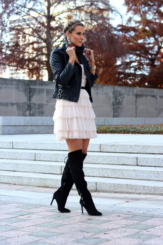 the courtney kerr blogger ruffle tulle dress knee high boots quilted leather jacket