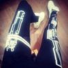 Shoes: black leggings, black and white, gun, trill, swag