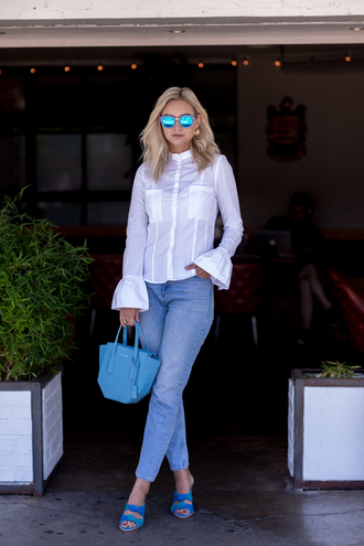 late afternoon blogger top jeans shoes jewels bag white shirt shirt blue bag bell sleeves blue shoes summer outfits