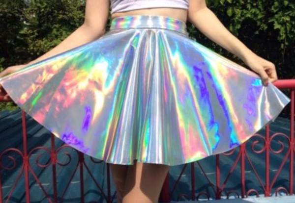 63aceef18 HOLOGRAPHIC TWIN SET Sleeveless Turtle Neck Crop and High Waist ...
