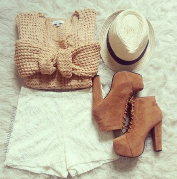 sweater knit shoes hat brown shorts pattern shorts pants