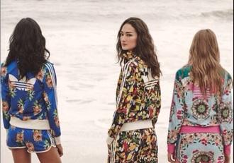 jumpsuit fashion floral top floral pants adidas tracksuit bottom adidas jacket adidas varsity jacket adidas tracksuit clothes top pants adidas pants floral adidas short suit