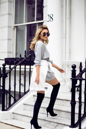 dress,tumblr,sweatshirt dress,sweatshirt,sweater dress,grey dress,casual,sunglasses,aviator sunglasses,boots,high heels boots,over the knee boots,over the knee,blue boots,velvet over the knee boots,velvet,velvet boots,velvet shoes