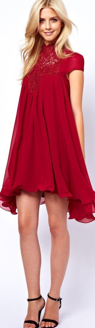 dress red asos swing dress lace crochet high neck short dress homecoming homecoming dres