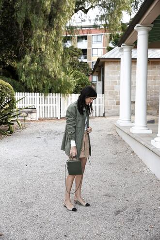 mademoiselle blogger top skirt jacket shoes bag jewels army green jacket slingbacks spring outfits