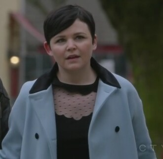 dress blue coat black polka dots once upon a time show mary margaret blanchard ginnifer goodwin
