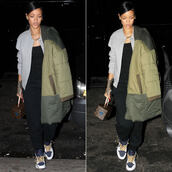 jacket,rihanna,coat,shoes,pants,bag,fall outfits,nike,down jacket