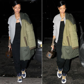 jacket rihanna coat shoes pants bag fall outfits nike down jacket