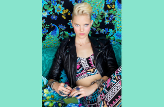 jacket nastygal shopnastygal.com nastygal.com nasty gal may lookbook lookbookm may lookbook graphic corset corset printed corset tribal pattern biker jacket cropped leather jacket skirt shirt tank top t-shirt dress