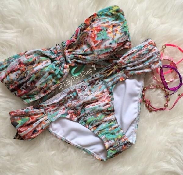 swimwear bikini two-piece bikini colorful bikini abstract prints colorful