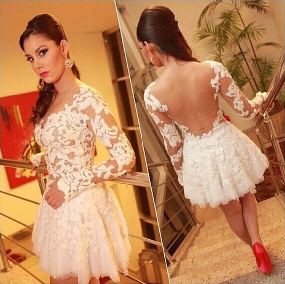 Aliexpress.com : Buy Explosion models lace stitching gauze dress sexy Embroidery evening dress Slim thin white Mini party dress in stock from Reliable dress underlay suppliers on Lady Go Fashion Shop