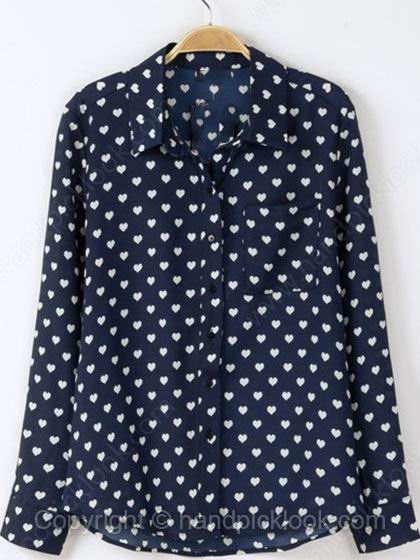 Dark Blue Lapel Long Sleeve Heart Print Blouse - HandpickLook.com