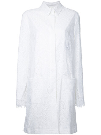 coat women midi lace white