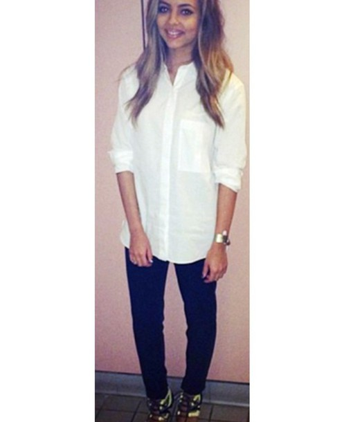 top white long buttons pockets