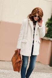 themiddlepage,blogger,coat,jeans,bag,shoes,faux fur coat,winter outfits