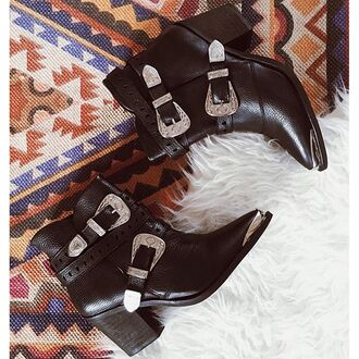 shoes boots booties ankle boots leather black straps silver buckles metal pointed toe heel festival mid heel boots nastygal country
