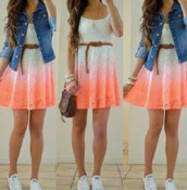 dress,ombre dress,pink and white,white and orange,white dress,orange dress,dip dyed,lace dress,cute dress,white,orange