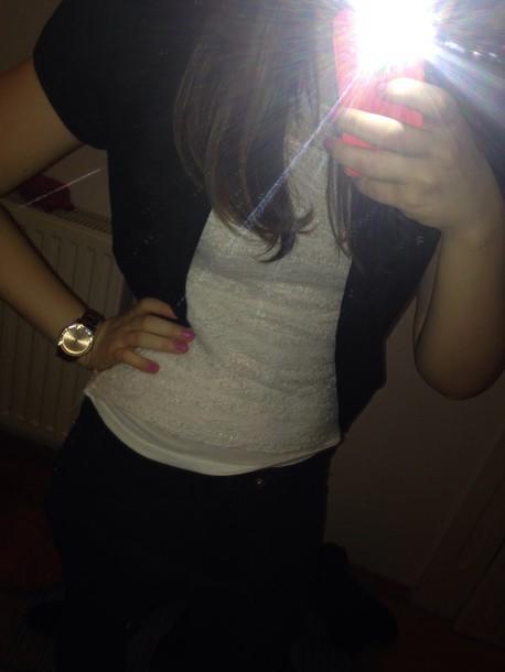 blouse white top black blazer black jeans gold watch pink nails