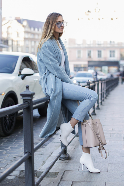 fashionagony blogger coat jeans shoes bag blue coat ankle boots white boots fall outfits winter outfits