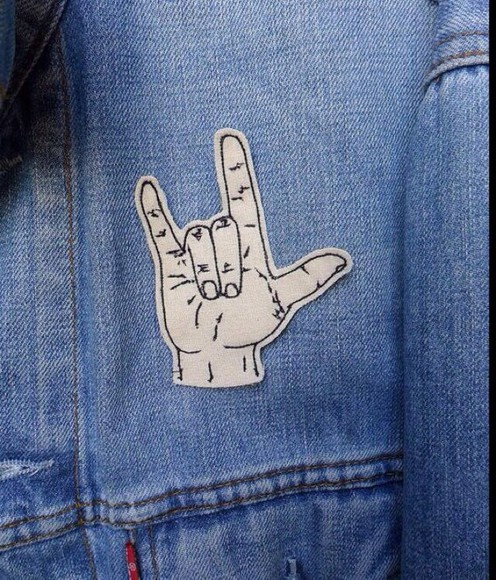 rock jacket jeans patches hand