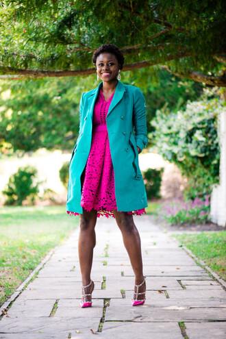 skinny hipster blogger hot pink pink dress coat