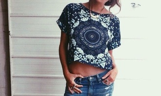 shirt crop crop tops navy blue top pattern mandala boho