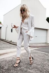 pants,striped pants,tailoring,stripes,white pants,cropped pants,office outfits,black sandals,blogger,white blazer,striped jacket,brooke testoni,all white everything,white top,round sunglasses,sandals,sandal heels,black heels