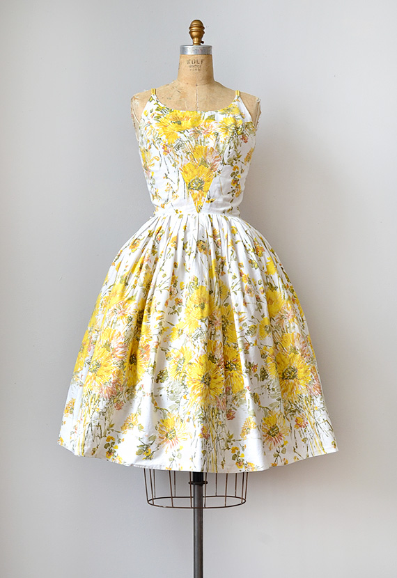 1950s yellow floral sundress [Inspired Van Gogh Dress] - $128.00 ...
