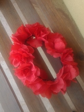 jewels,red,rose,hippie,flower crown,hipster,festival,hair accessory,hair band