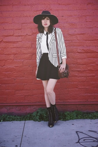 a fashion nerd blogger hat stripes school girl black boots