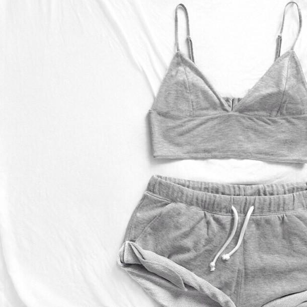 shorts top grey crop top grey shorts pajamas nightwear set two-piece grey white workout workout shorts folded