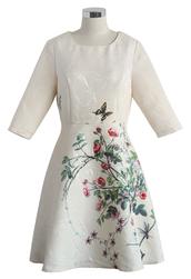 dress,chicwish,chic,print,jaquard dress,serene rose print jacquard dress in beige